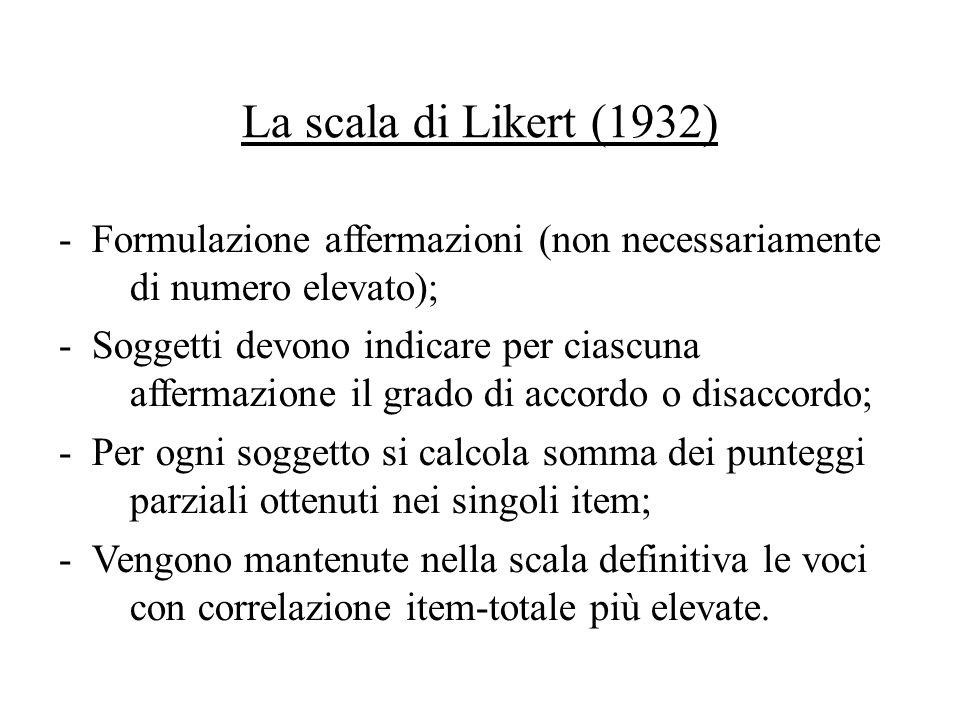 La scala di Likert (1932) - Formulazione affermazioni (non necessariamente di numero elevato);