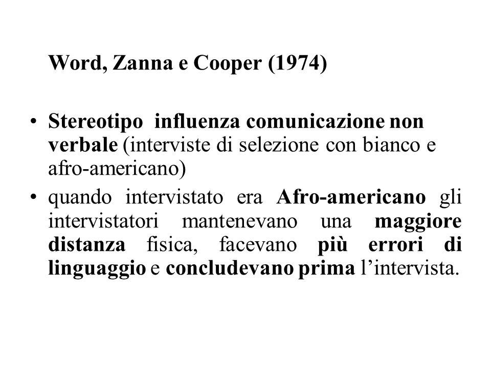 Word, Zanna e Cooper (1974) Stereotipo influenza comunicazione non verbale (interviste di selezione con bianco e afro-americano)