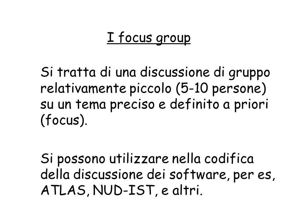 I focus group Si tratta di una discussione di gruppo relativamente piccolo (5-10 persone) su un tema preciso e definito a priori (focus).