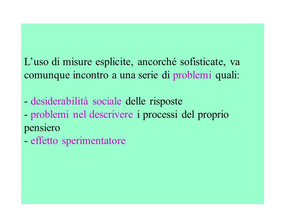 L'uso di misure esplicite, ancorché sofisticate, va comunque incontro a una serie di problemi quali: - desiderabilità sociale delle risposte - problemi nel descrivere i processi del proprio pensiero - effetto sperimentatore