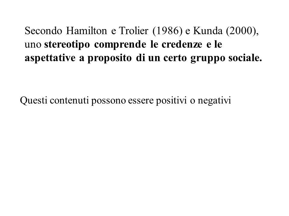 Secondo Hamilton e Trolier (1986) e Kunda (2000), uno stereotipo comprende le credenze e le aspettative a proposito di un certo gruppo sociale.