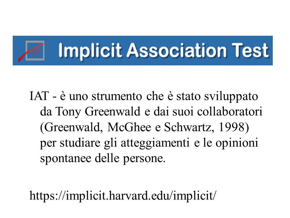 IAT - è uno strumento che è stato sviluppato da Tony Greenwald e dai suoi collaboratori (Greenwald, McGhee e Schwartz, 1998) per studiare gli atteggiamenti e le opinioni spontanee delle persone.