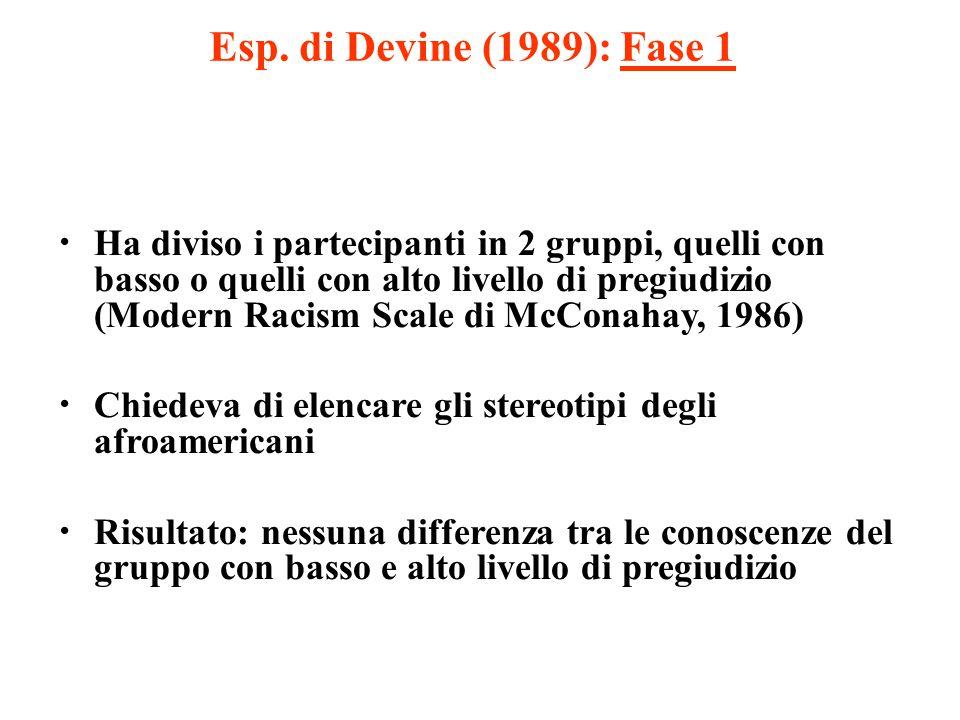 Esp. di Devine (1989): Fase 1