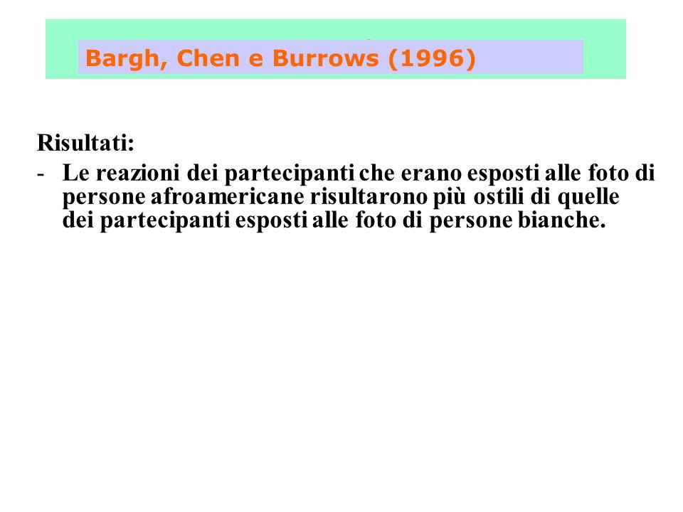 Fase 3 Bargh, Chen e Burrows (1996) Risultati: