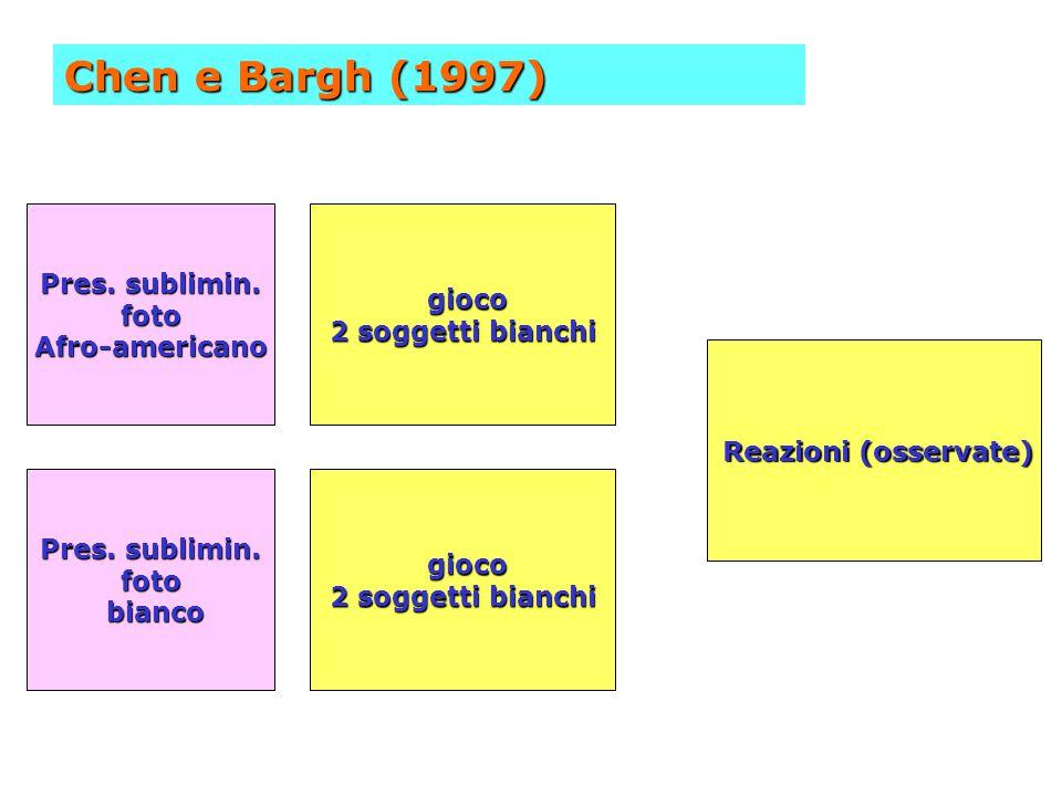 Chen e Bargh (1997) Pres. sublimin. gioco foto 2 soggetti bianchi