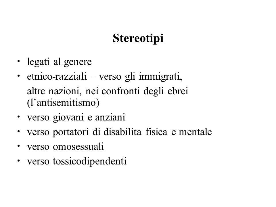 Stereotipi legati al genere etnico-razziali – verso gli immigrati,