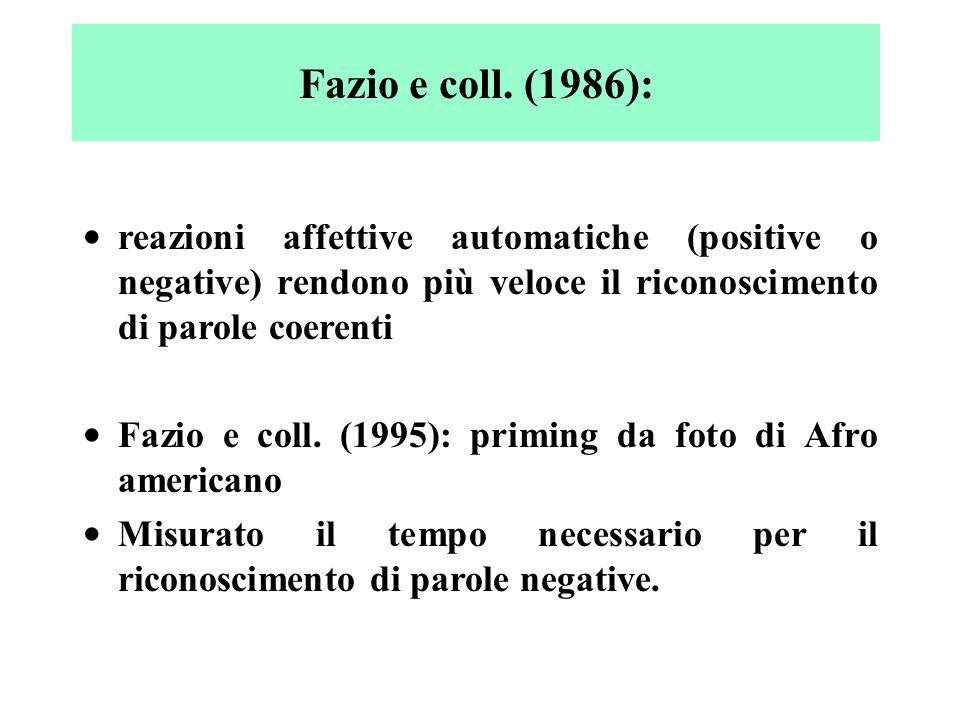 Fazio e coll. (1986): reazioni affettive automatiche (positive o negative) rendono più veloce il riconoscimento di parole coerenti.
