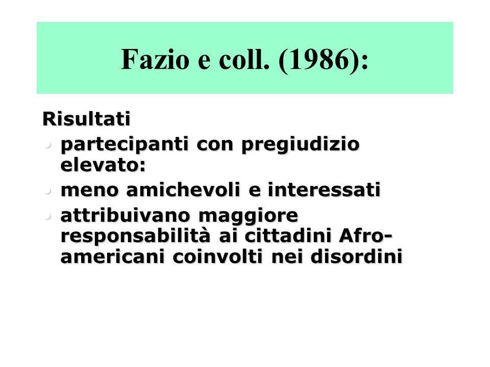 Fazio e coll. (1986): Risultati partecipanti con pregiudizio elevato: