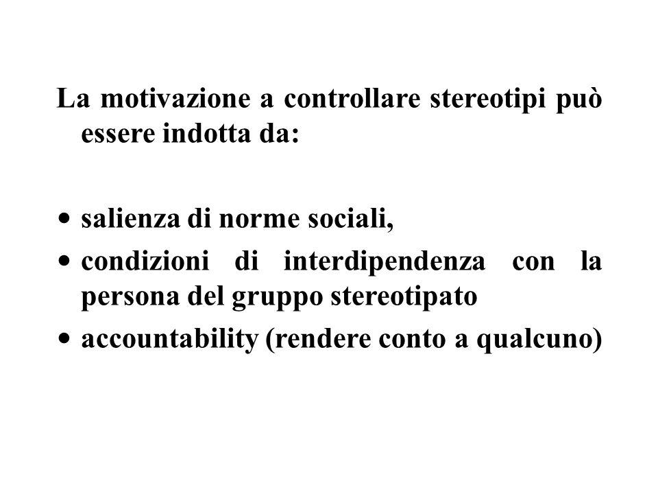 La motivazione a controllare stereotipi può essere indotta da: