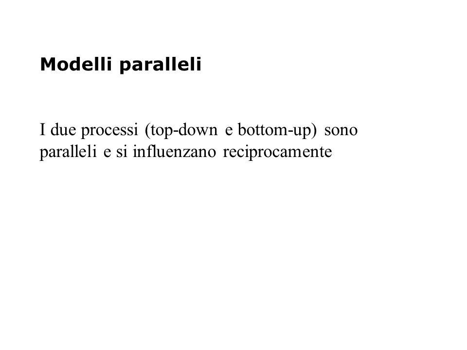 Modelli paralleli I due processi (top-down e bottom-up) sono paralleli e si influenzano reciprocamente.