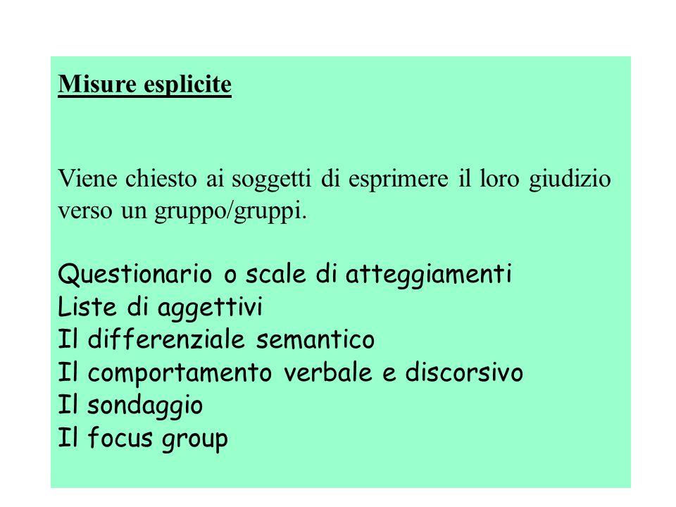 Misure esplicite Viene chiesto ai soggetti di esprimere il loro giudizio verso un gruppo/gruppi.