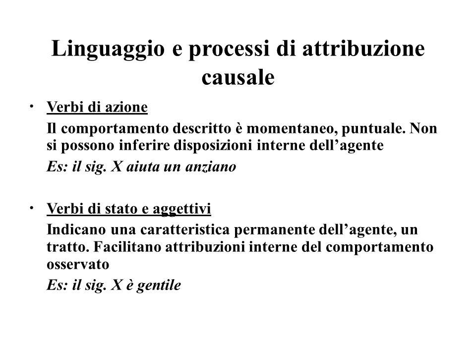 Linguaggio e processi di attribuzione causale