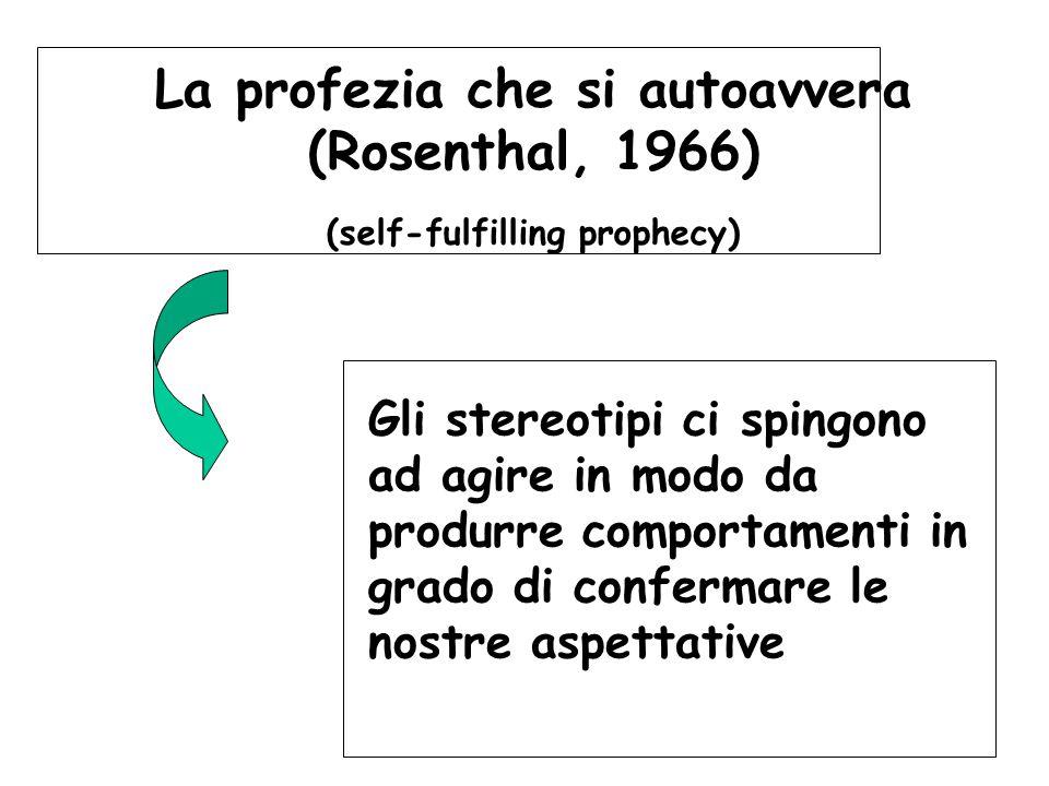 La profezia che si autoavvera (Rosenthal, 1966) (self-fulfilling prophecy)