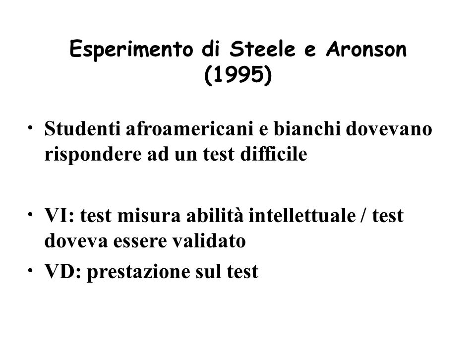 Esperimento di Steele e Aronson (1995)