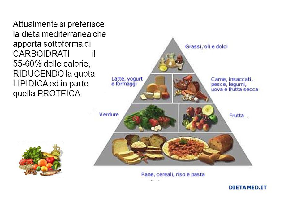 Attualmente si preferisce la dieta mediterranea che apporta sottoforma di CARBOIDRATI il 55-60% delle calorie, RIDUCENDO la quota LIPIDICA ed in parte quella PROTEICA