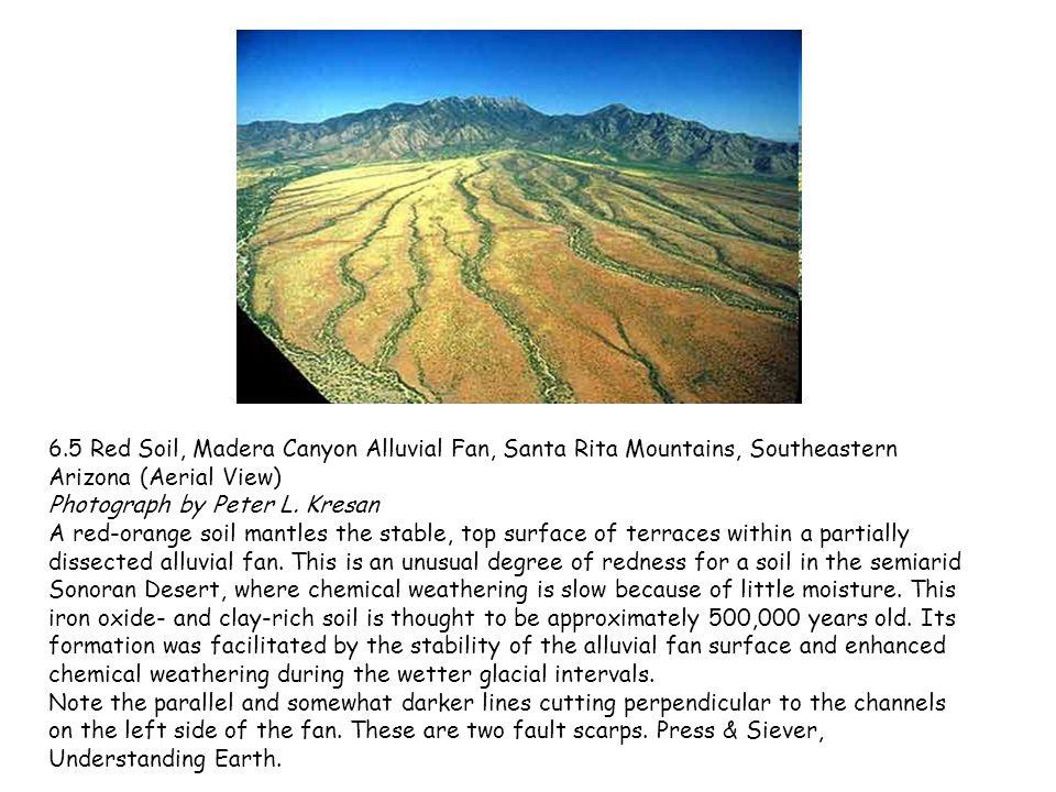 6.5 Red Soil, Madera Canyon Alluvial Fan, Santa Rita Mountains, Southeastern Arizona (Aerial View) Photograph by Peter L. Kresan
