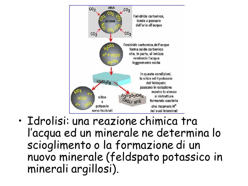 Idrolisi: una reazione chimica tra l'acqua ed un minerale ne determina lo scioglimento o la formazione di un nuovo minerale (feldspato potassico in minerali argillosi).