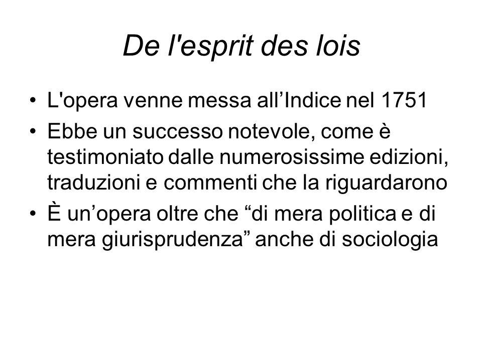 De l esprit des lois L opera venne messa all'Indice nel 1751