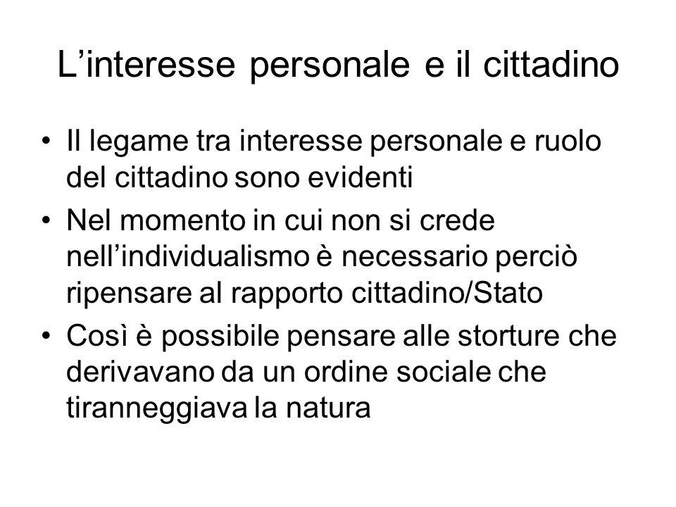 L'interesse personale e il cittadino