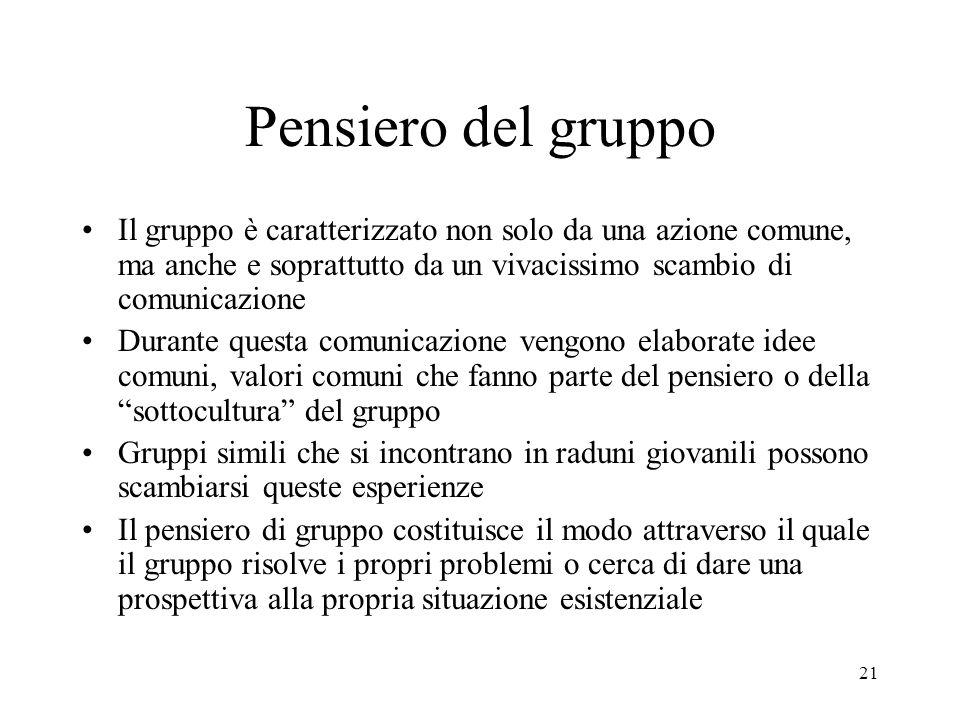Pensiero del gruppo Il gruppo è caratterizzato non solo da una azione comune, ma anche e soprattutto da un vivacissimo scambio di comunicazione.