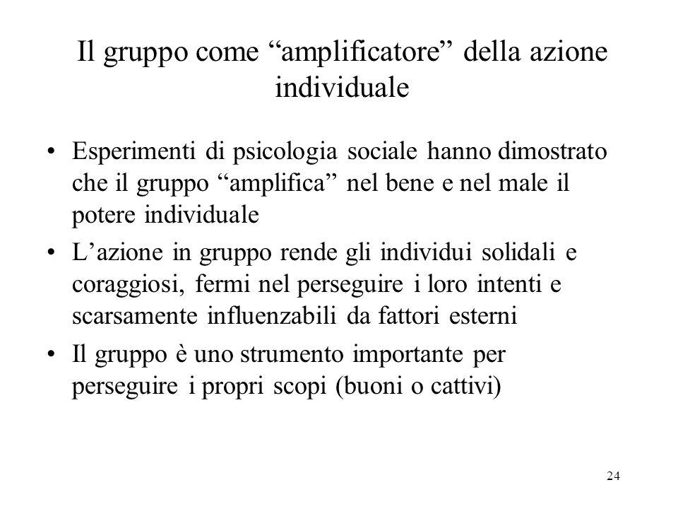 Il gruppo come amplificatore della azione individuale