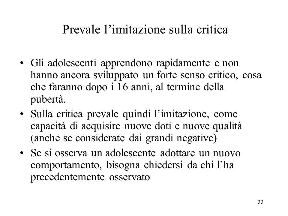 Prevale l'imitazione sulla critica