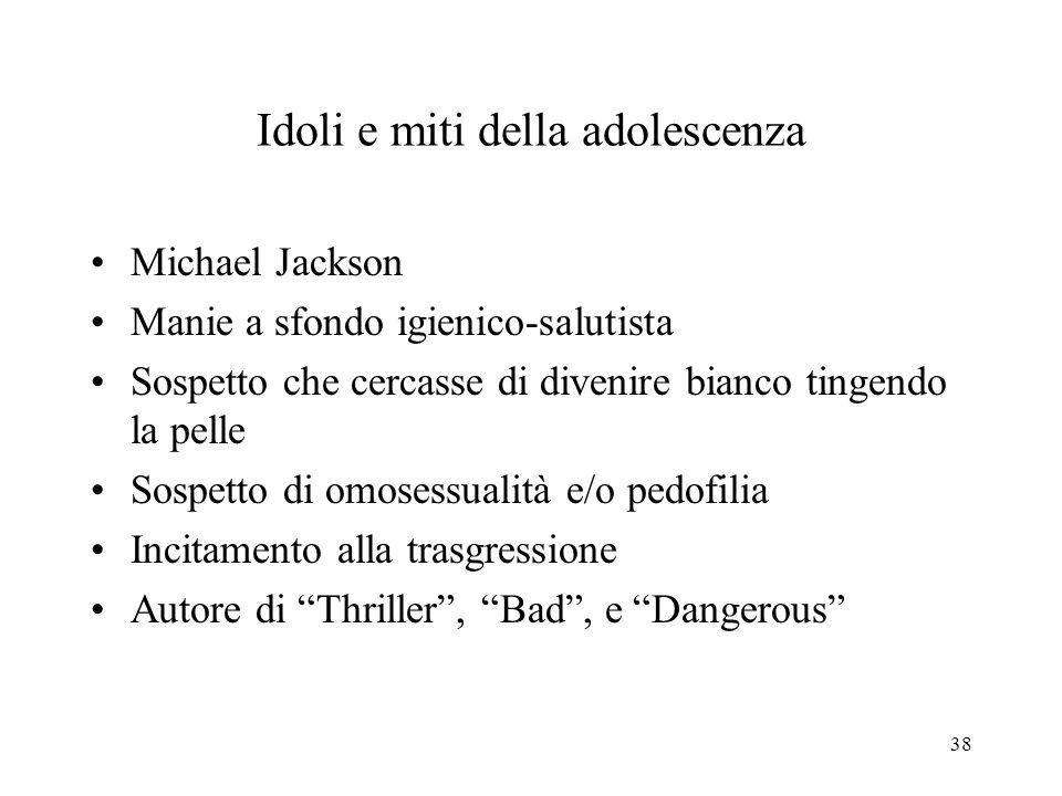 Idoli e miti della adolescenza