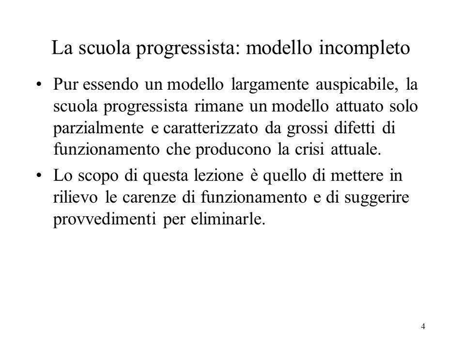 La scuola progressista: modello incompleto