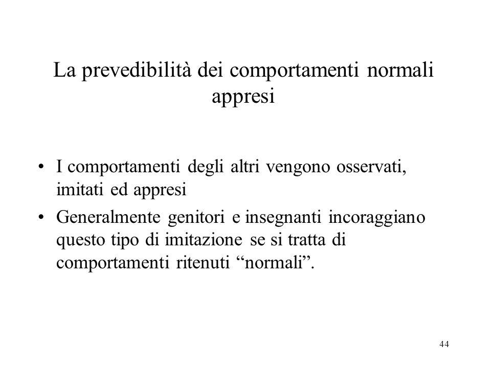 La prevedibilità dei comportamenti normali appresi