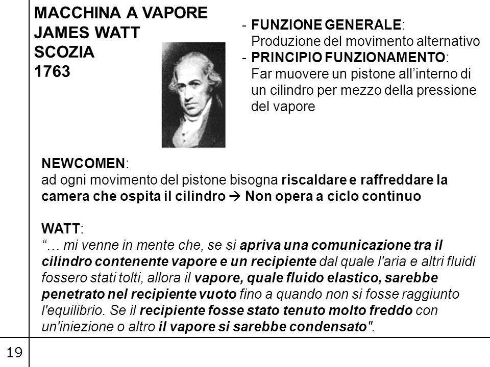 MACCHINA A VAPORE JAMES WATT SCOZIA 1763 FUNZIONE GENERALE: