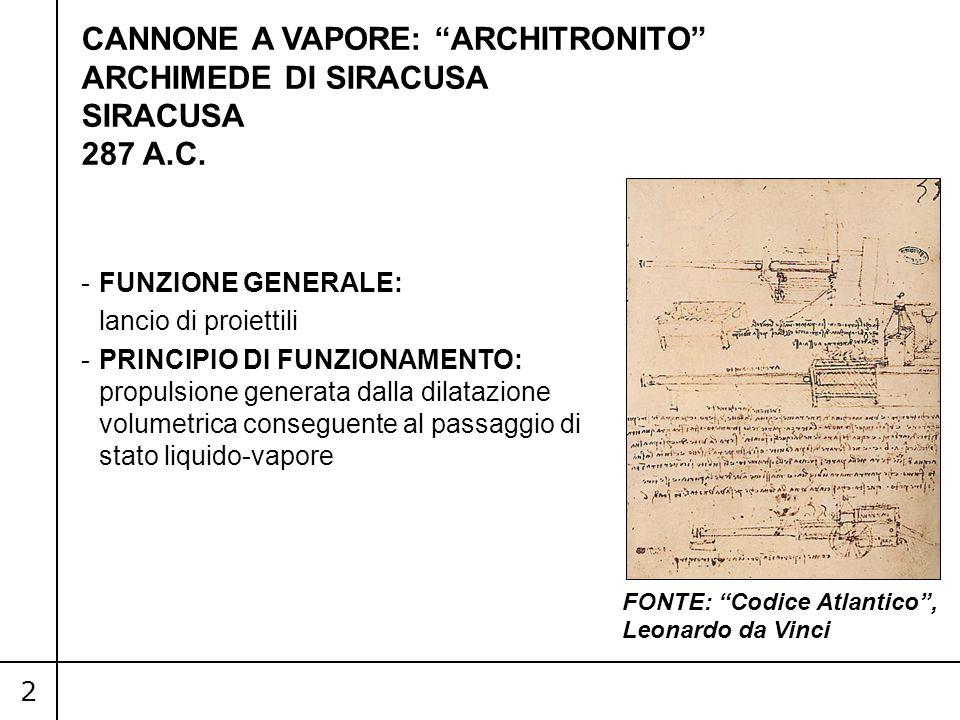 CANNONE A VAPORE: ARCHITRONITO ARCHIMEDE DI SIRACUSA SIRACUSA 287 A