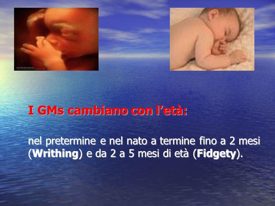 I GMs cambiano con l'età: nel pretermine e nel nato a termine fino a 2 mesi (Writhing) e da 2 a 5 mesi di età (Fidgety).
