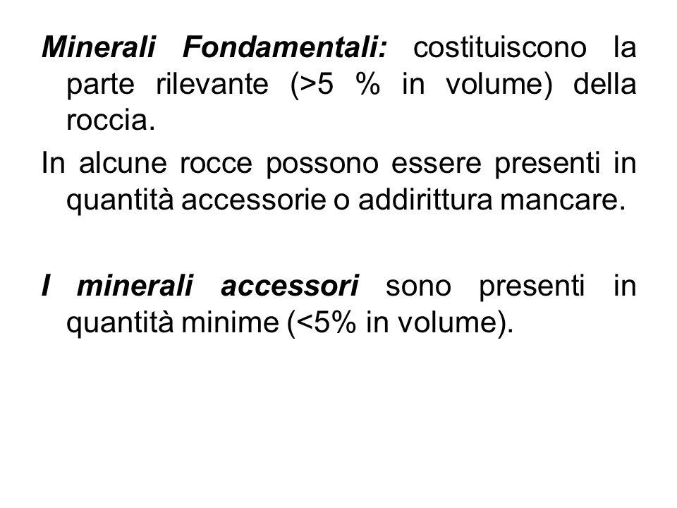 Minerali Fondamentali: costituiscono la parte rilevante (>5 % in volume) della roccia.