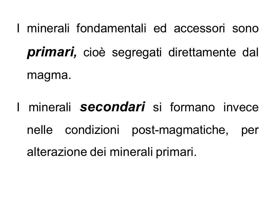 I minerali fondamentali ed accessori sono primari, cioè segregati direttamente dal magma.