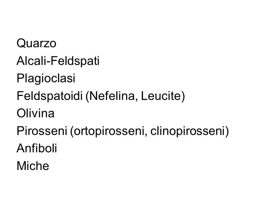 Quarzo Alcali-Feldspati. Plagioclasi. Feldspatoidi (Nefelina, Leucite) Olivina. Pirosseni (ortopirosseni, clinopirosseni)