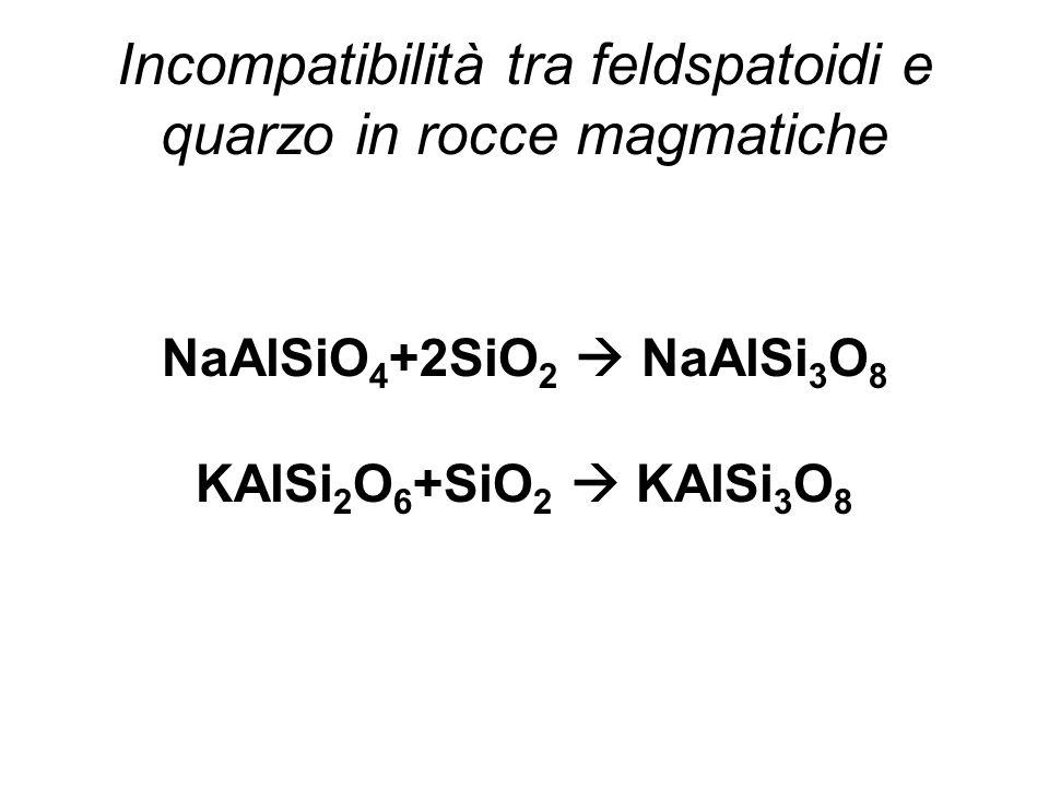 Incompatibilità tra feldspatoidi e quarzo in rocce magmatiche