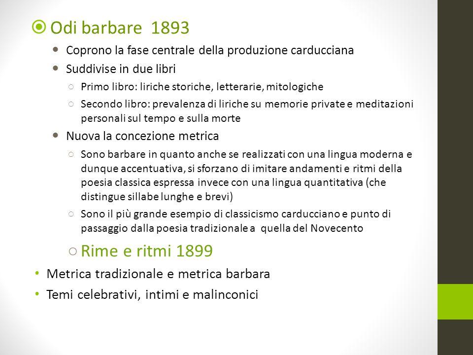 Odi barbare 1893 Rime e ritmi 1899