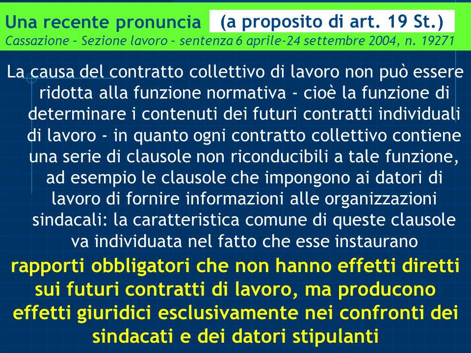 Una recente pronuncia Cassazione – Sezione lavoro – sentenza 6 aprile-24 settembre 2004, n. 19271
