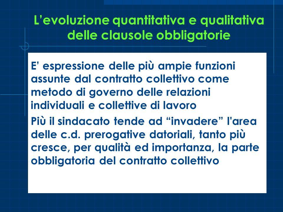 L'evoluzione quantitativa e qualitativa delle clausole obbligatorie