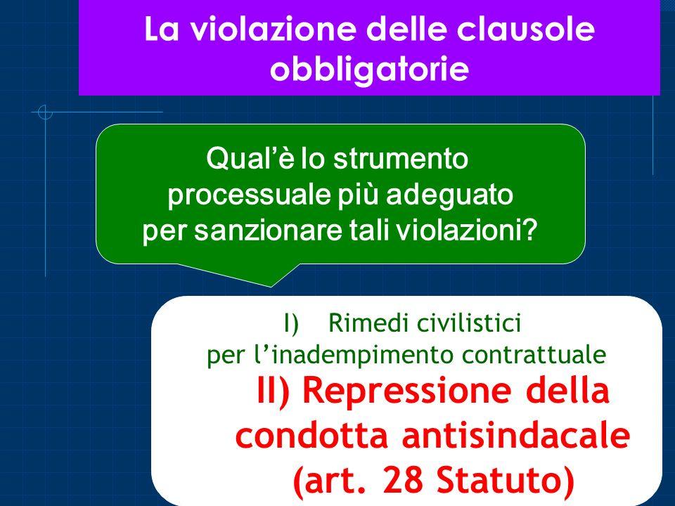 La violazione delle clausole obbligatorie