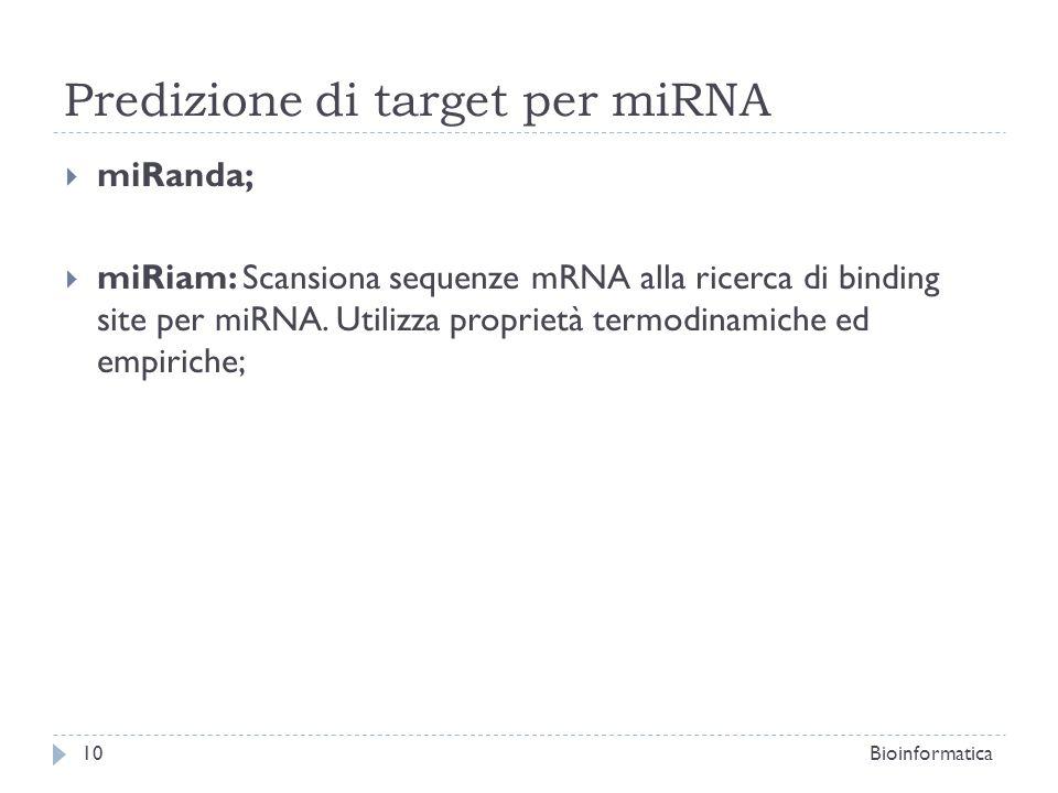 Predizione di target per miRNA