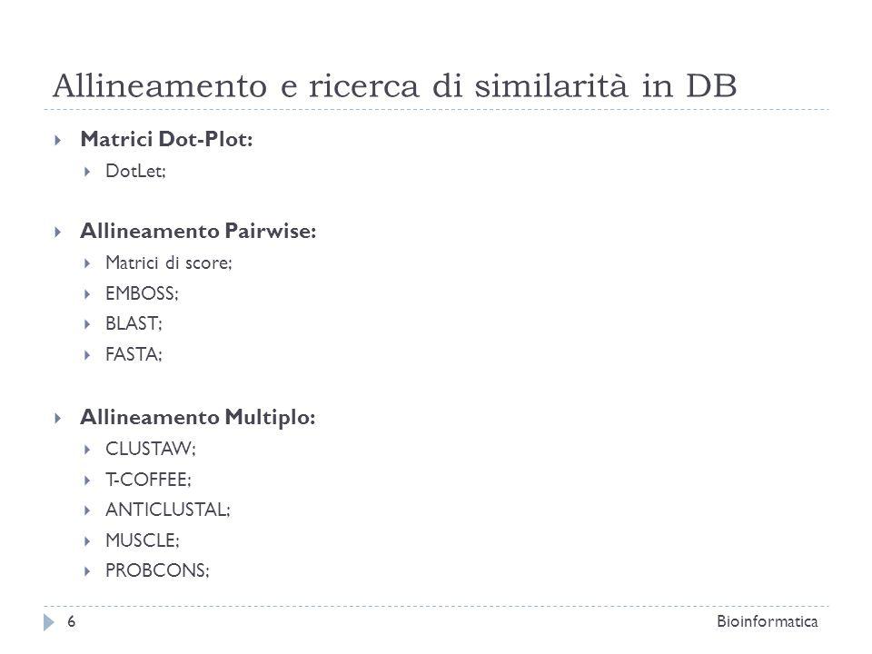 Allineamento e ricerca di similarità in DB