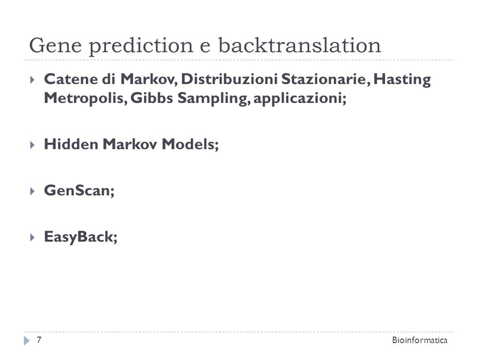 Gene prediction e backtranslation