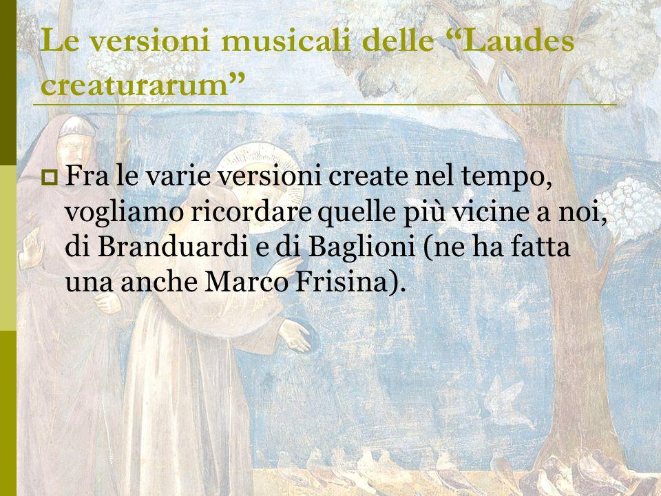Le versioni musicali delle Laudes creaturarum