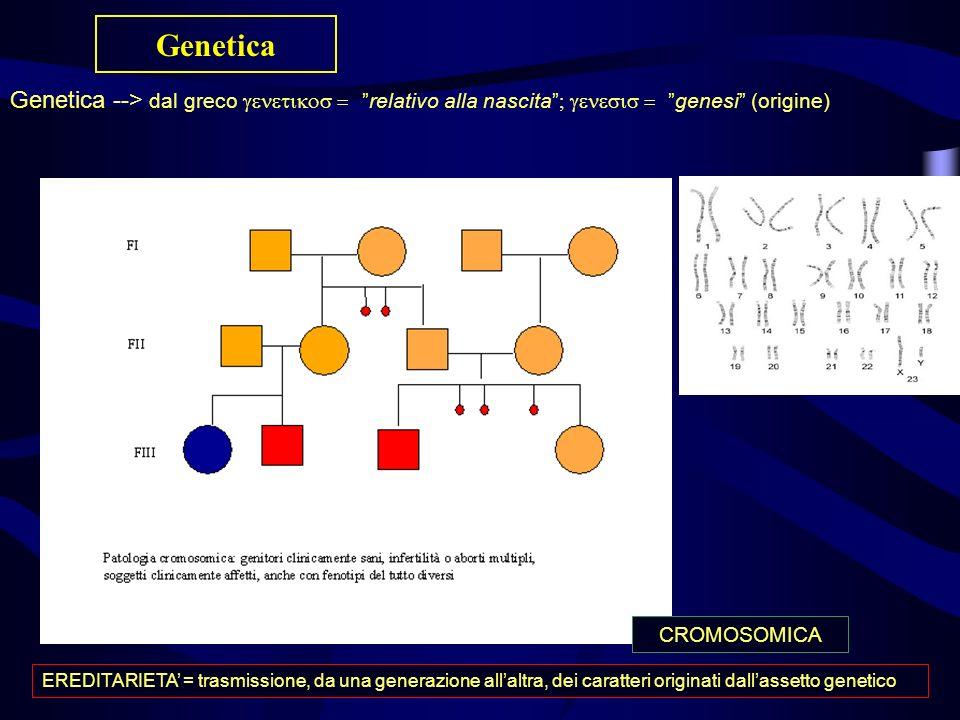 Genetica Genetica --> dal greco  relativo alla nascita  genesi (origine)