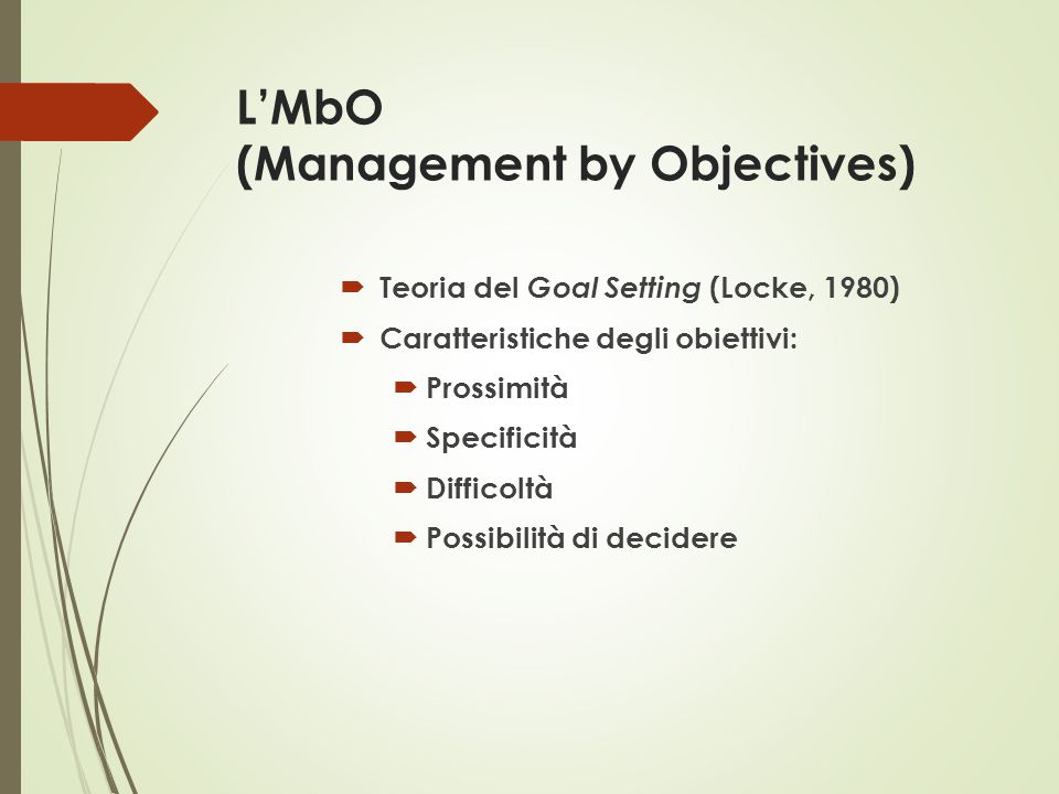 L'MbO (Management by Objectives)
