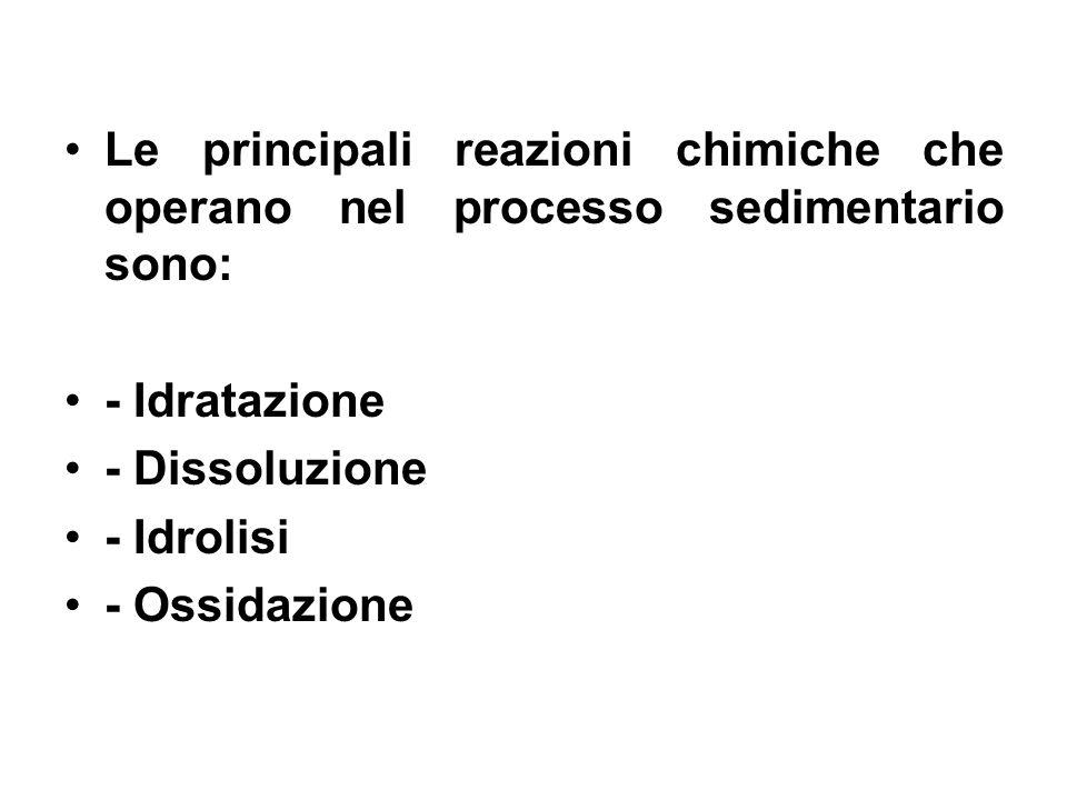 Le principali reazioni chimiche che operano nel processo sedimentario sono: