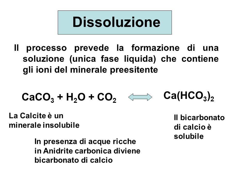Dissoluzione Ca(HCO3)2 CaCO3 + H2O + CO2