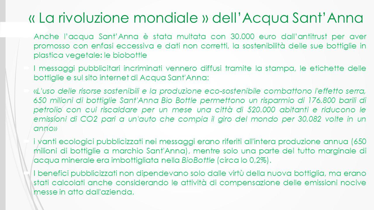 « La rivoluzione mondiale » dell'Acqua Sant'Anna