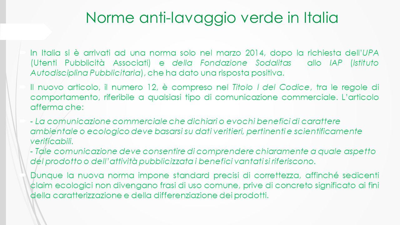 Norme anti-lavaggio verde in Italia